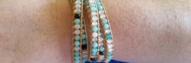 Gemstone Beaded Leather Wrap Bracelet by VinebrookJewelry (review)